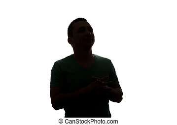 Silhouette Man Mysterious Face On A White Background