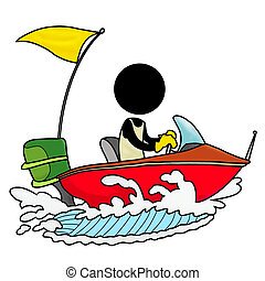 speedboat driver - Silhouette-man on transportation icon - ...