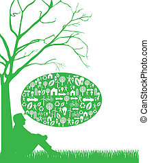 thinking green - silhouette man over grass, thinking green. ...