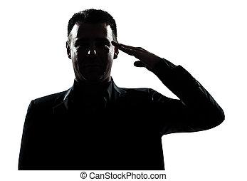 silhouette man portrait army salute - one caucasian man army...