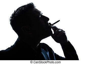 silhouette man portrait smoking cigarette