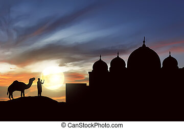 Image of silhouette man praying with camel outside the mosque