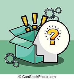 silhouette man question exclamations box