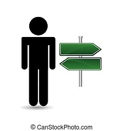 silhouette man road sign empty arrow