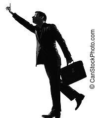 silhouette  man   running hailing