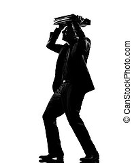 silhouette man shielding with his briefcase