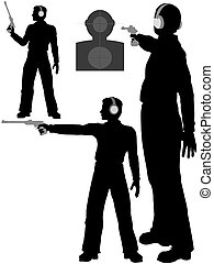 Silhouette man shoots target pistol - A silhouette man...