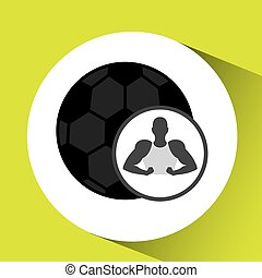silhouette man showing muscle with ball soccer