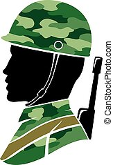 Silhouette Man Soldier Military Illustration - Illustration...