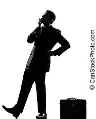 silhouette man thinking pensive looiking up