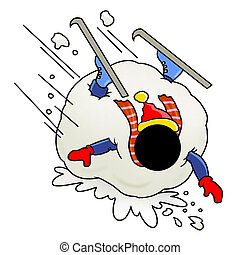 stuck in giant snowball - Silhouette-man unlucky day - stuck...