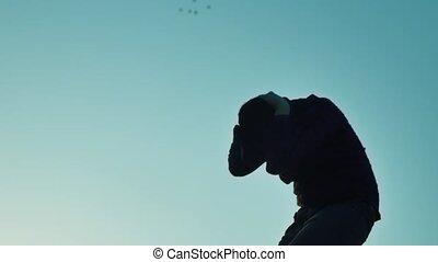 silhouette man upset depression depression fear suicide....
