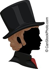 Silhouette Man Victorian Hair Hat Illustration
