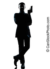 silhouette, man, volledige lengte, geheime agent, in, een,...
