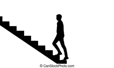 Silhouette Man walking stairs on white. Way to success...