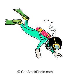 scuba diving - Silhouette-man water sport icon - scuba...