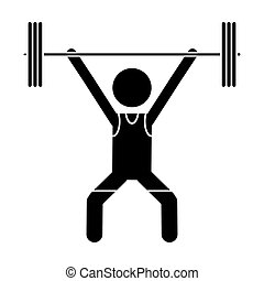 silhouette man weight lifter sport athlete