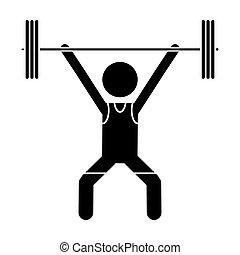 silhouette man weight lifter sport athlete