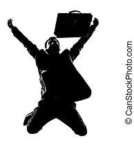silhouette man winner energy success - silhouette caucasian ...