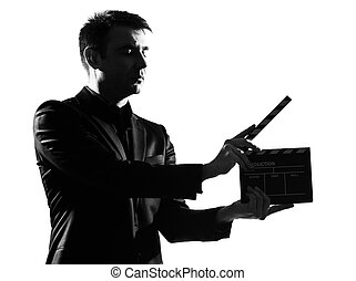 silhouette man with clapboard - silhouette caucasian...