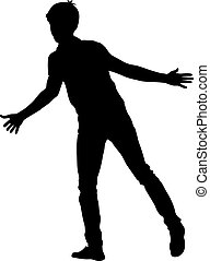 Silhouette man with divorced his hands to the sides. Vector illustration
