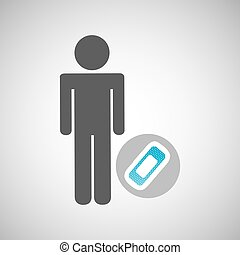 silhouette man with first aid medical bandage graphic