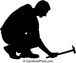 Silhouette man with hammer on a white background, vector illustration