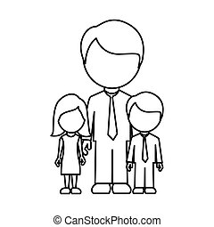silhouette man with his children icon