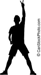 Silhouette man with his hand raised in the form of the letter V. Vector illustration