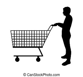 silhouette man with shopping cart