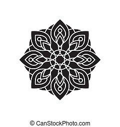 silhouette, mandala, vecteur, illustration, gabarit, conception