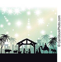 silhouette manger merry christmas design design