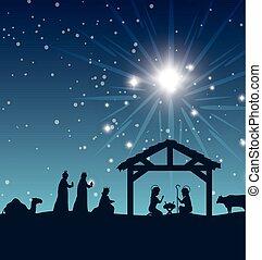 silhouette manger merry christmas isolated design vector...