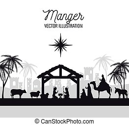 silhouette manger merry christmas isolated design vector...
