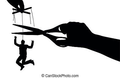 silhouette, manipulation., slavery., illustration,...