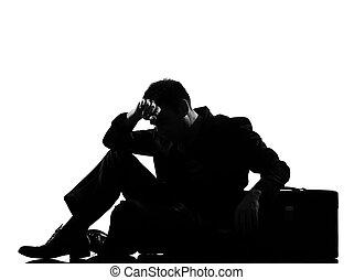 silhouette, mann, ermüdung, verzweiflung, muede