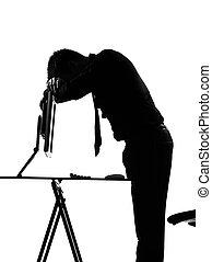 silhouette, mann, rechnen, muede, traurige