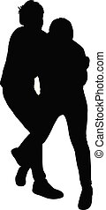 silhouette, mannen, twee, jonge, vector, vecht