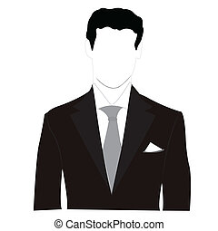 silhouette, mannen, zwart kostuum