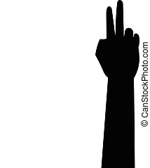 silhouette, mano, iocn