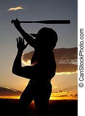 silhouette, mano, oscillazione baseball, tramonto, uno