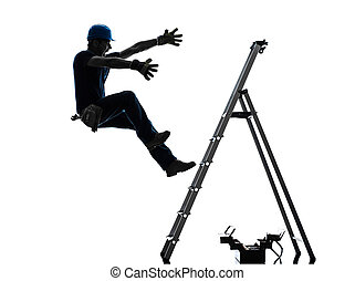 silhouette, manuale, scala, lavoratore, cadere, uomo