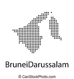 Silhouette map of Brunei, Asia