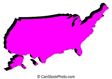 Silhouette map of United States of America vector