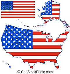 Silhouette map of USA - Silhouette map and flag of the USA....