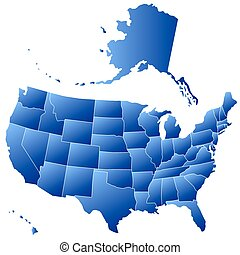 Silhouette map of USA - Gradient silhouette map of the USA. ...