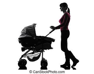 silhouette, marche, femme, bébé, landaus