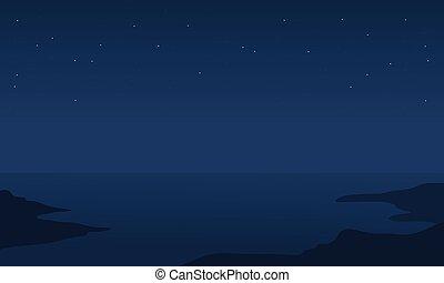 silhouette, mare, notte