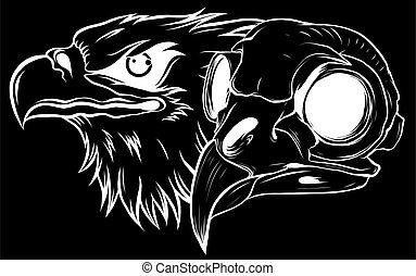 silhouette Mascot Head of an Eagle vector illustration