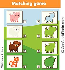 Silhouette matching children educational game. Kids activity with farm animals